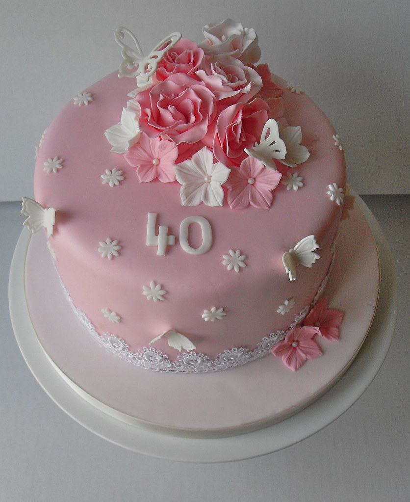 Pink 40th Birthday Cake  www.facebook.com/pages/Sugar-Ruffl ...