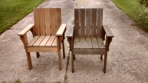Cedar Chairs Before and After Sanding | by rgdaniel