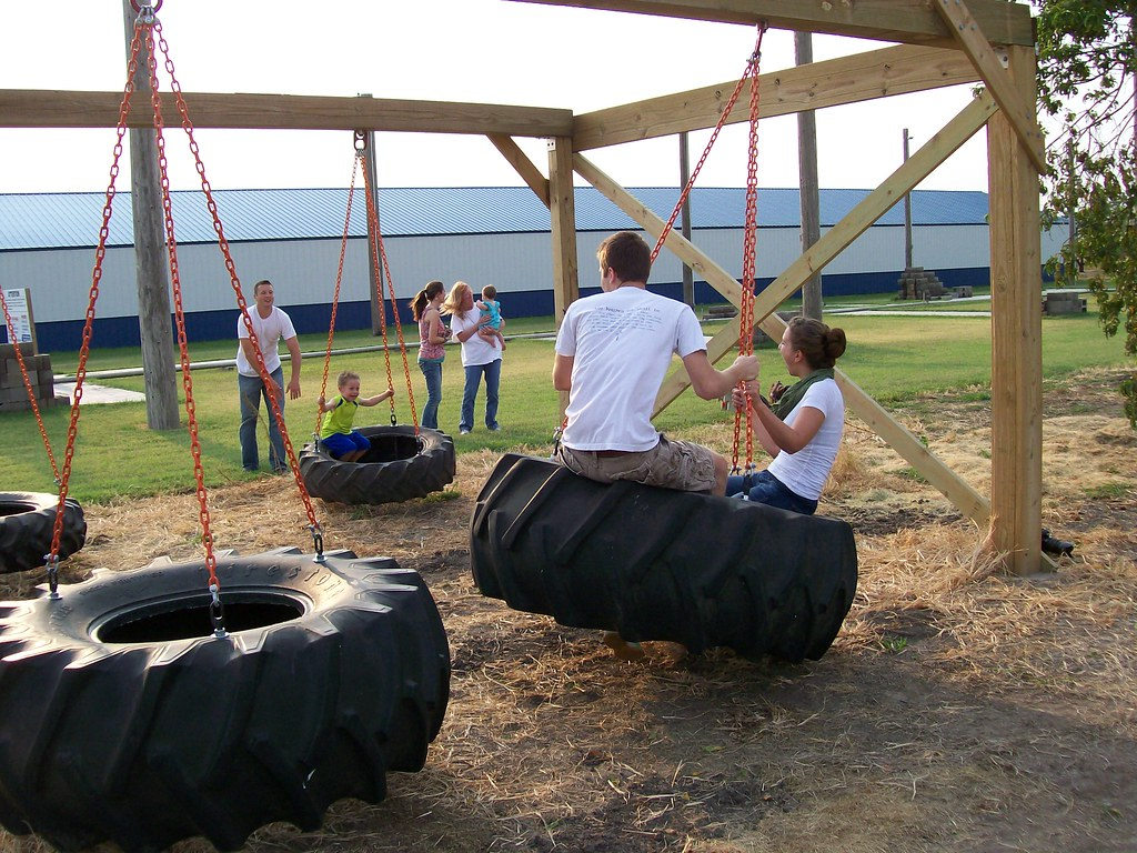 tractor tire swing set bergmanncornmaze flickr