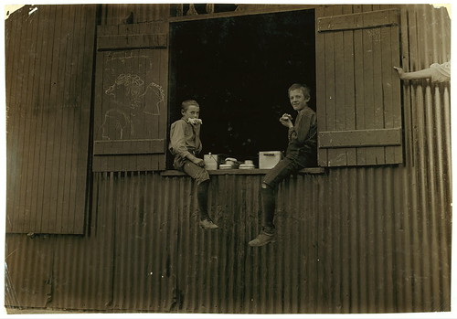 Lunch Time, Economy Glass Works, Morgantown, W. Va. Plenty more like this, inside.  Location: Morgantown, West Virginia. (LOC) | by The Library of Congress