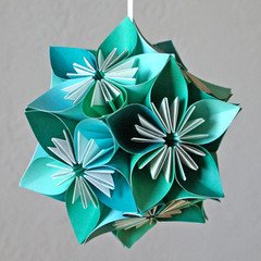 Teal small origami kusudama flower ball kusudama originate flickr teal small origami kusudama flower ball by styleoutsidethebox mightylinksfo