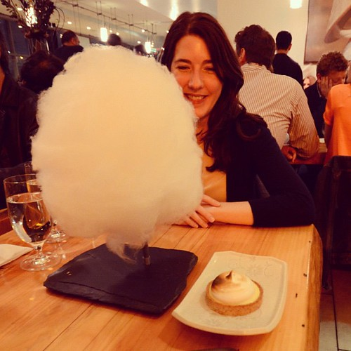 Dessert was lychee cotton candy on a rock base. | by nep
