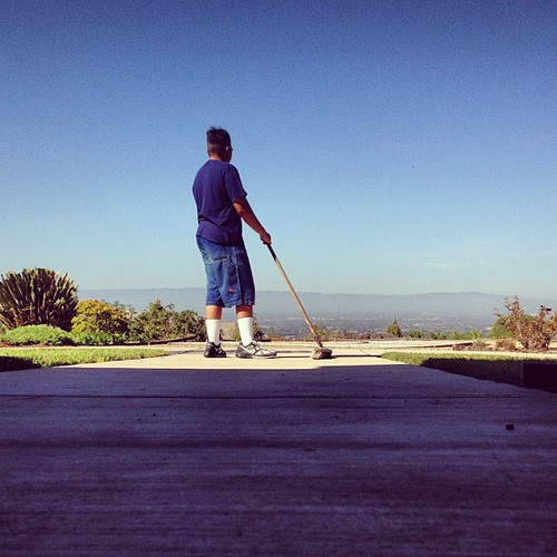 Cleaning up the church on this lovely sunny morning.  Today is the first day of fall as well :) This was at The Point Church in San Jose, CA during our Saturday workday here.  I was sweeping the outside areas. (9-22-12; 10:40 a.m.) | by 54StorminWillyGJ54