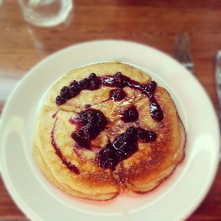 Ricotta pancake with blueberry compote! | by Shockingly Tasty