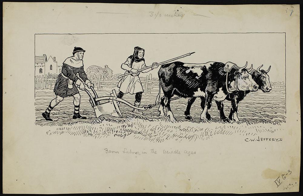 u201cfarm labour in the middle ages  u201d drawing by c  w  jeffery u2026