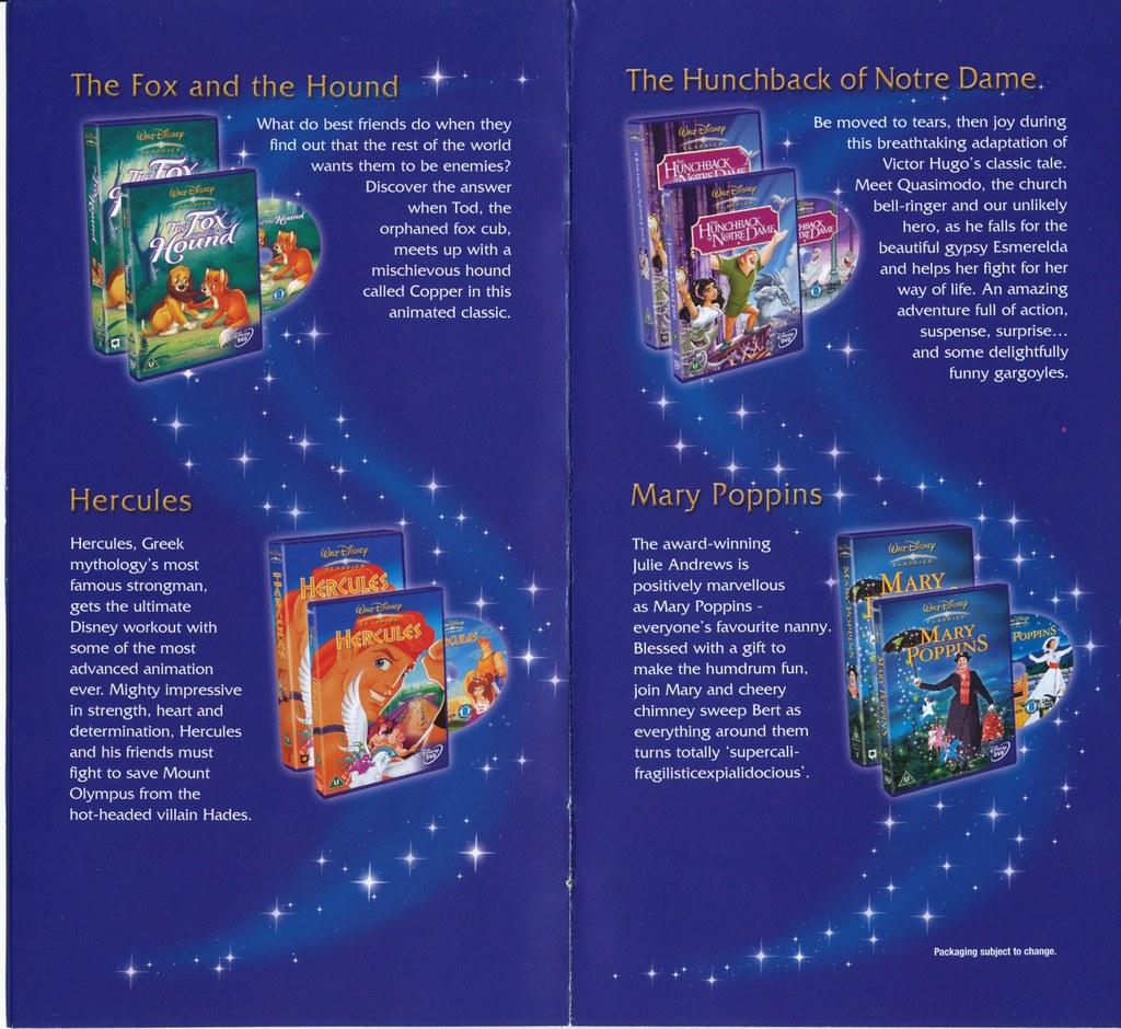 Disney Dvd Vhs Uk Catalogue 2003 Pamphlet For Walt