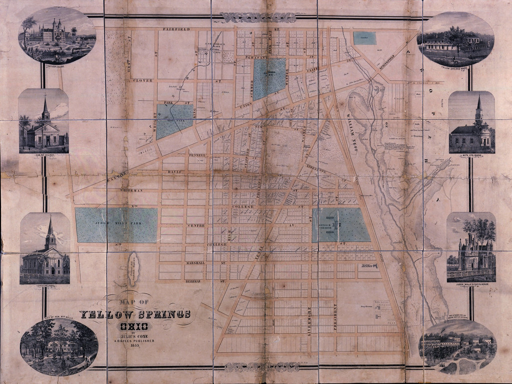 Map Of Yellow Springs Ohio A Print 1855 By Julius Cone Flickr