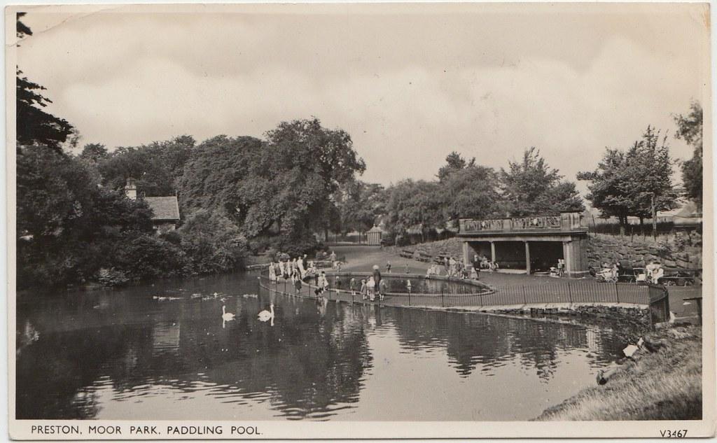 Preston Moor Park Paddling Pool Sepia Postcard Rp Ppc No Flickr