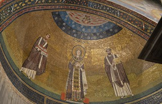 Sant'Agnese fuori le Mura, 7th cent. apse mosaic showing St. Agnes flanked by two popes (3) | by Prof. Mortel