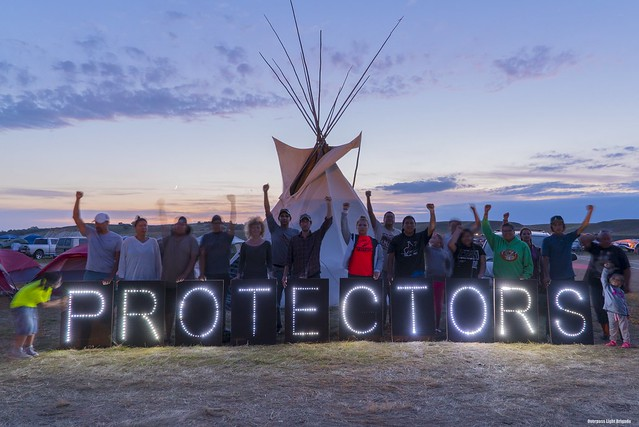 Water protectors at Sacred Stone Camp