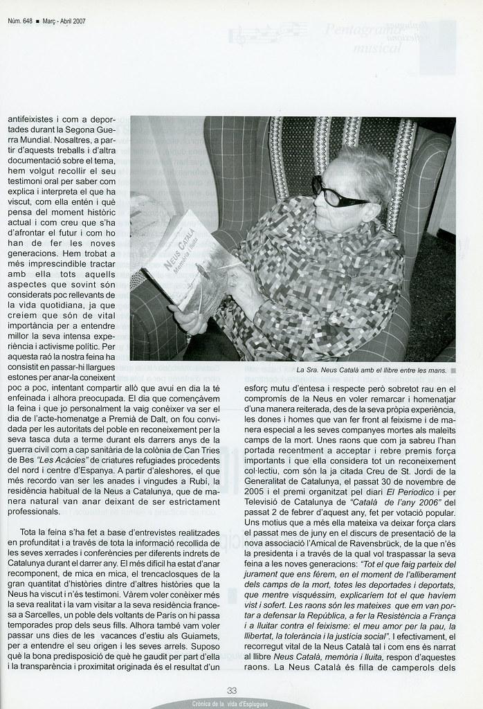 """""""La nostra vila d'Esplugues: entorn i referent del nou llibre Neus Català"""" per Elisenda belenguer"""