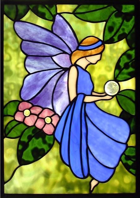 Whimsical fairy part one stained glass window flickr for Fairy painting easy