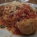 Spaghetti alla chitarra, with meatballs.