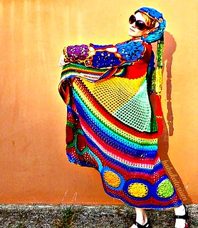 Kaleidocoat -  Multicolor Multimotif Striped And Hooded Hippie Crochet Coat | by babukatorium