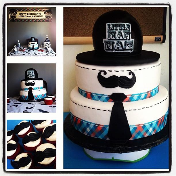Little Man Theme Birthday Cake With Mustache Yahairam Flickr