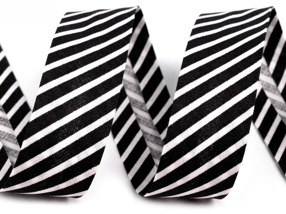 Schrägband Streifen 14mm, schwarz-weiß