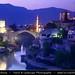 Bosnia and Herzegovina - Mostar on Neretva River - Old Bridge Area of the Old City of Mostar - UNESCO World Heritage site - Dusk - Twilight - Blue Hour - Night
