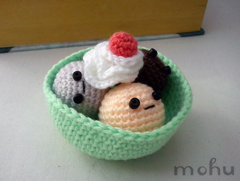 Kawaii amigurumi ice cream sundae   Crochet amigurumi ice cr ...