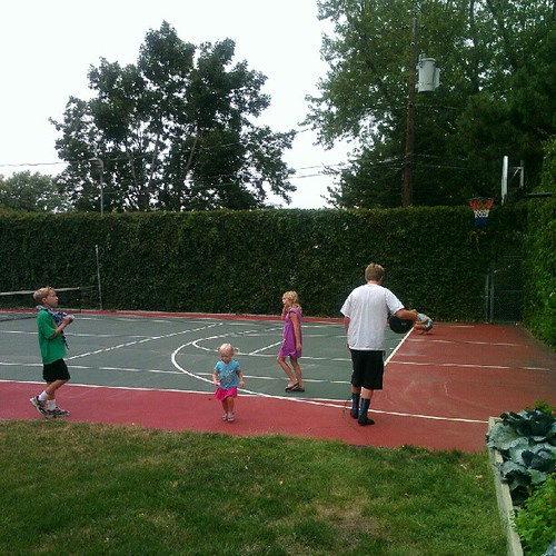 Basketball/tennis court in my cousin's backyard. It complements the one-lane bowling alley in their basement. (Their new house is AWESOME.) | by bethany actually