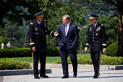 Army Chief of Staff Gen. Ray Odierno speaks with NFL commissioner Roger Goodell and Lt. Gen. Huntoon Jr. | by West Point - The U.S. Military Academy