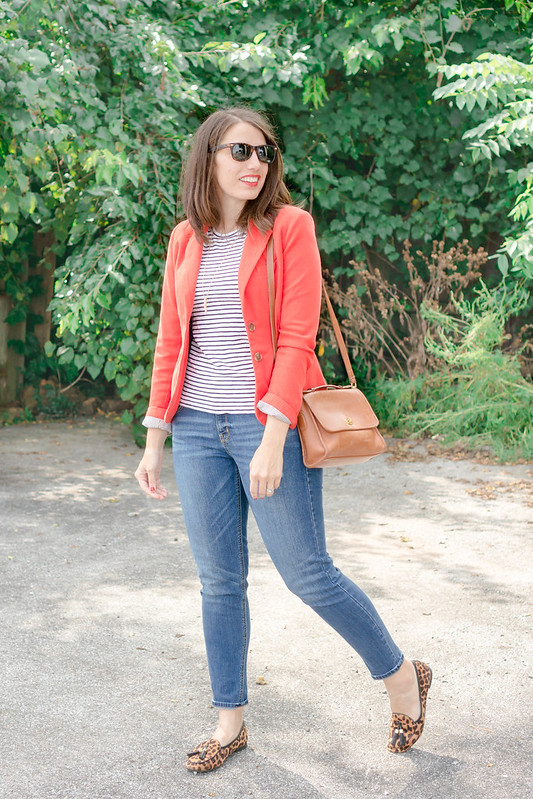 orange blazer + boyfriend jeans + stripe tee + leopard print loafers + tan coach purse; casual fall outfit | Style On Target blog