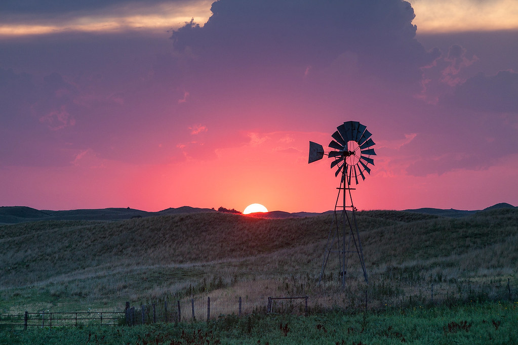 Windmill At Sunset Valentine Nebraska Going Through