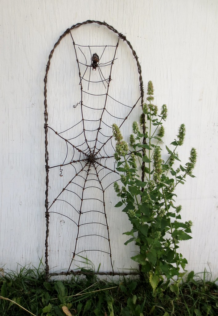 ... Spider In A Tattered Web Barbed Wire Garden Trellis | By The Dusty  Raven Gallery