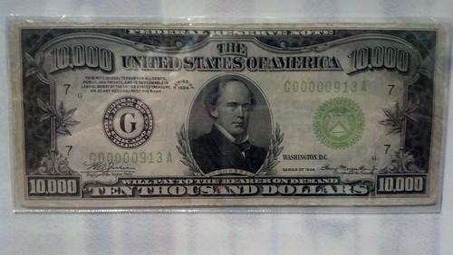 New 10000 Dollar Bill a real 10,000 dollar b...