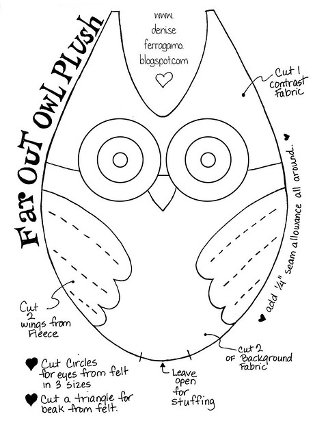 Pattern template for owl plush flickr photo sharing for Owl templates for sewing