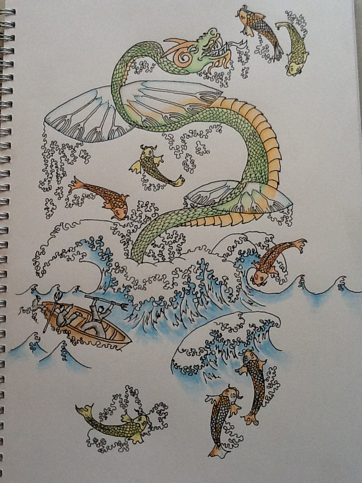 Sea dragon tattoo design finally finished coloured in for Sea dragon tattoo