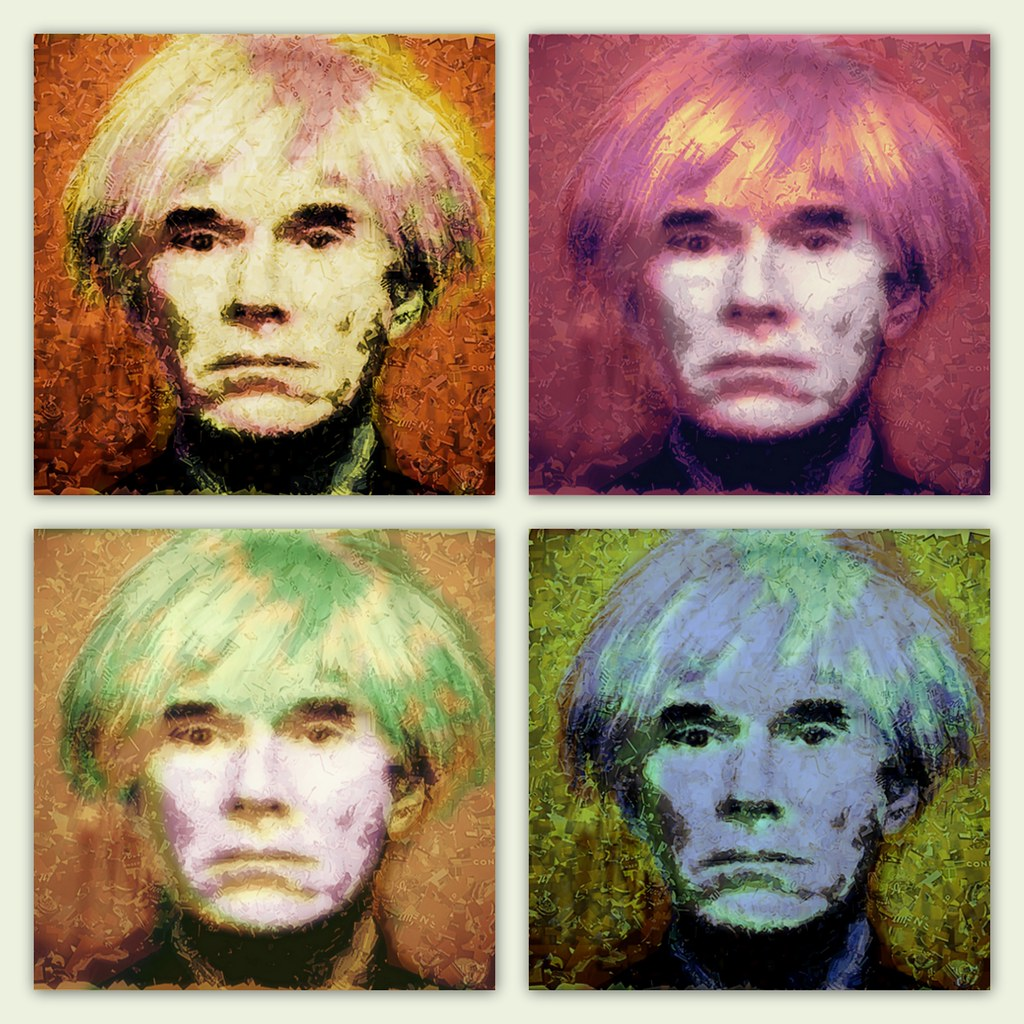 Four warhols a mosaic portrait of andy warhol made for Andy warhol famous paintings