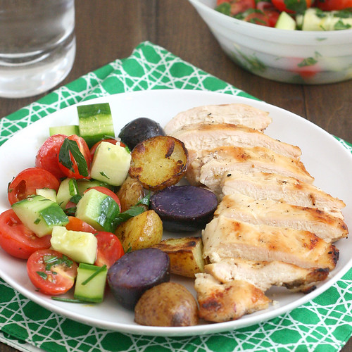 Grilled Chicken and Potatoes with Tomato and Cucumber Salad | by Tracey's Culinary Adventures