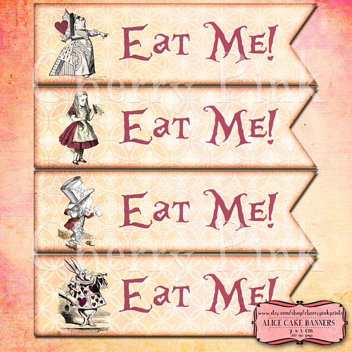 Alice in wonderland Cake Banners | by CherrypinkEtsy