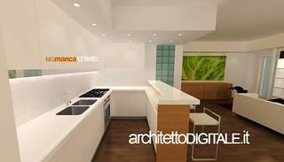 Progetto di interni di un appartamento di 75 mq vista 3d for Architetto interni on line