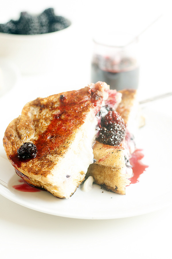 mascarpone and blackberry stuffed french toast