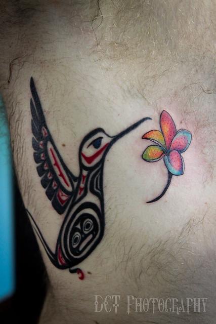 Native american hummingbird tattoo w plumeria flickr for Native american tattoo artist seattle