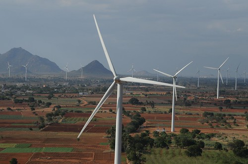 A string of Gamesa's G58 wind turbines power the Theni wind farm, located in India. | by NA Windpower