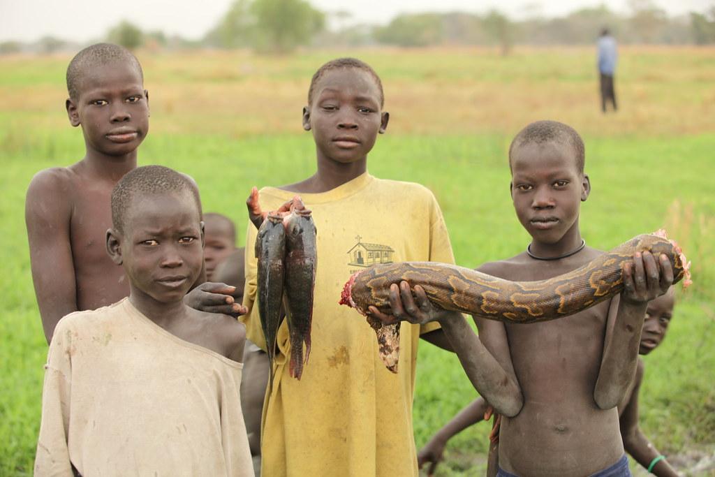 Sudd Dinka Breakfast Children In The Sudd Swamp Catch A