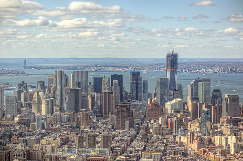 Lower Manhattan skyline and the Freedom Tower from the Empire State Building HDR | by Dave DiCello