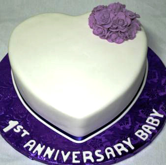 heart 1st anniversary cake with purple roses | jeanne | flickr
