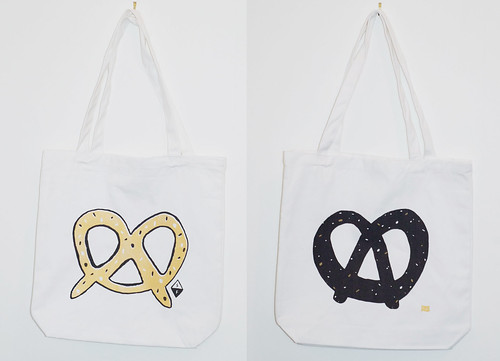 Double-sided pretzel tote bag by Caitlyn Murphy + Sandi Falconer | by Caitlyn Murphy
