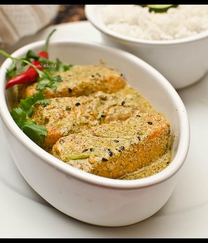 Sorse Salmon (Salmon fish in Mustard sauce), a bengali twi ...