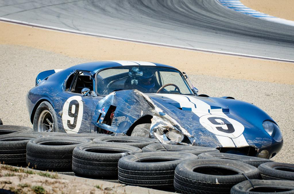 Mazda Raceway Laguna Seca >> Rob Walton in his wrecked Daytona Cobra | Rob Walton's ...