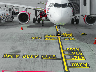 Aircraft at parking bay in accordance to plane model numbering | by tiokliaw