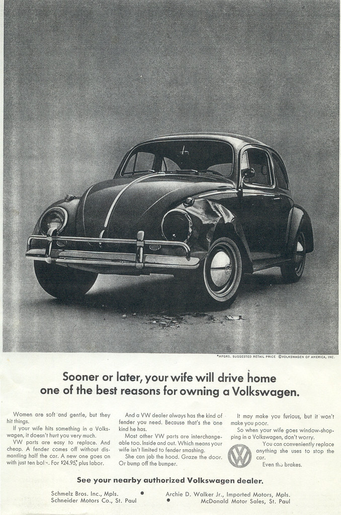 Sexist Volkswagen Ad 1964 Quot Sooner Or Later Your Wife