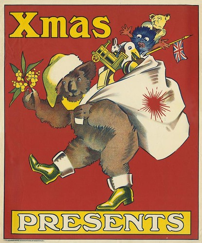 Christmas poster featuring a koala dressed in Santa hat and boots ca 1920 | by State Library of Queensland, Australia