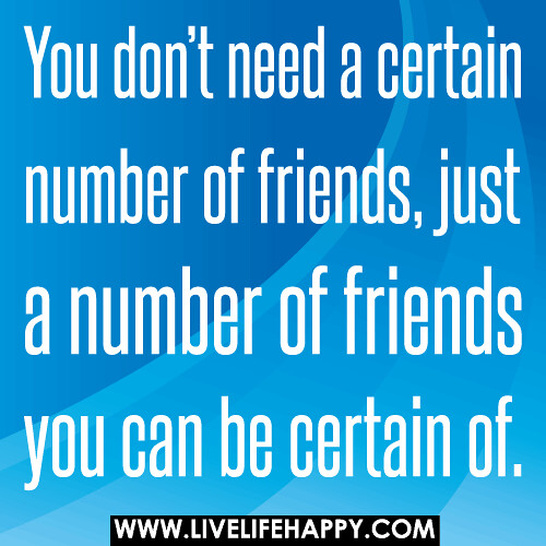 You Don't Need A Certain Number Of Friends, Just A Number