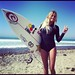 Alana getting ready to surf at Lower Trestles