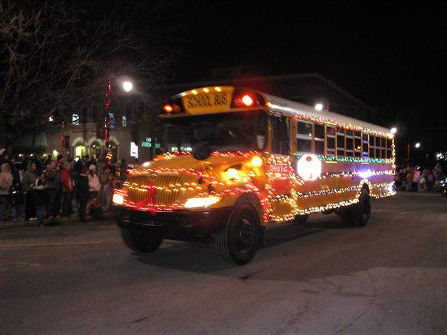 Parade school bus christmas festival greenfield