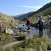 007-20120915_LUMC Reunion Walk no.1-Cumbria-crossing outflow of Small Water-L-R Julia K, Dave S, John Pe, John Pl, Sue R